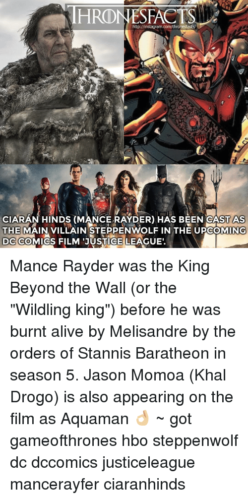 """stannis baratheon: HRONESFACTS  http://instagram.com/thronesfacts/  CIARAN HINDS (MANCE RAYDER) HAS BEEN CAST AS  THE  MAIN VILLAIN STEPPENWOLF IN THE UPCOMING  DC COMICS FILM JUSTICE LEAGUE Mance Rayder was the King Beyond the Wall (or the """"Wildling king"""") before he was burnt alive by Melisandre by the orders of Stannis Baratheon in season 5. Jason Momoa (Khal Drogo) is also appearing on the film as Aquaman 👌🏼 ~ got gameofthrones hbo steppenwolf dc dccomics justiceleague mancerayfer ciaranhinds"""