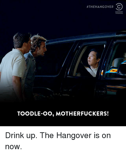 The Hangover: HTHEHANGOVER C  COMEDY  TOODLE-OO, MOTHERFUCKERS! Drink up. The Hangover is on now.