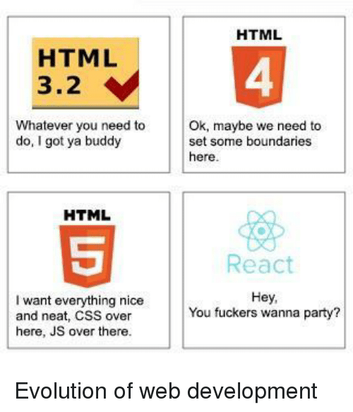 Got Ya: HTML  HTML  3.2  4  Whatever you need to  do, I got ya buddy  Ok, maybe we need to  set some boundaries  here  HTML  React  I want everything nice  and neat, CSS over  here, JS over there.  Hey,  You fuckers wanna party? Evolution of web development