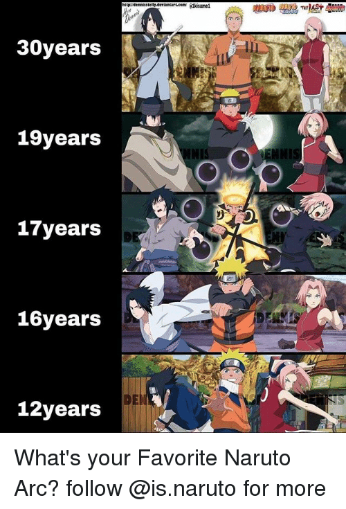 Memes, Naruto, and Http: http: dennesste  viancart.comi lkisamei  30years  19years  NNIS  NI  17years  16years  DEN  12years What's your Favorite Naruto Arc? follow @is.naruto for more