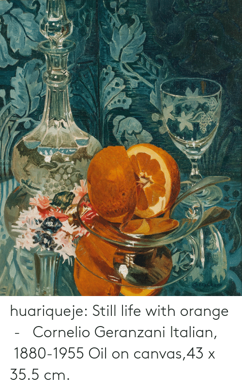 Canvas: huariqueje:  Still life with orange  -   Cornelio Geranzani  Italian,  1880-1955 Oil on canvas,43 x 35.5 cm.