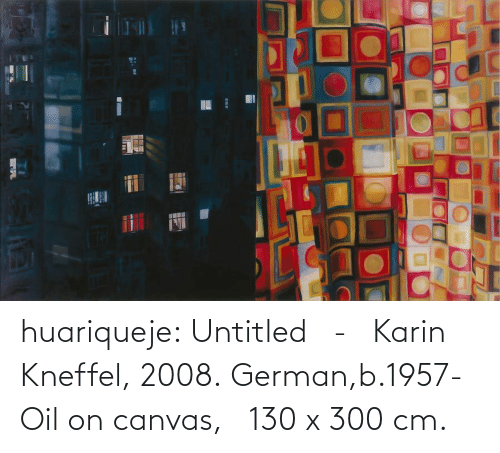Canvas: huariqueje: Untitled   -   Karin Kneffel, 2008. German,b.1957- Oil on canvas,     130 x 300 cm.