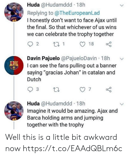 """banner: Huda @Hudamddd 18h  Replying to @TheEuropeanLad  I honestly don't want to face Ajax until  the final. So that whichever of us wins  we can celebrate the trophy together  Davin Pajuelo @PajueloDavin 18h  I can see the fans pulling out a banner  saying """"gracias Johan"""" in catalan and  Dutch  7  Huda @Hudamddd 18h  Imagine it would be amazing. Ajax and  Barca holding arms and jumping  together with the trophy Well this is a little bit awkward now https://t.co/EAAdQBLm6c"""