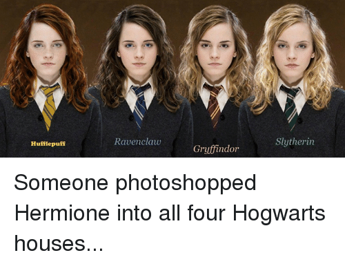 Dank And Ravenclaw Hufflepuff Gruffindor Slytherin Someone Photoshopped Hermione Into All