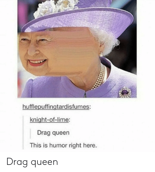 lime: hufflepuffingtardisfumes:  knight-of-lime:  Drag queen  This is humor right here. Drag queen