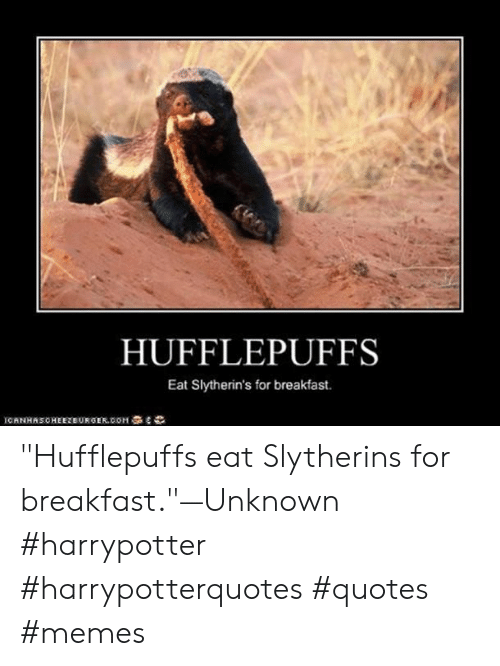 """slytherins: HUFFLEPUFFS  Eat Slytherin's for breakfast.  ICANHASONEEZEURGER.COM亭名ら """"Hufflepuffseat Slytherins for breakfast.""""—Unknown #harrypotter #harrypotterquotes #quotes #memes"""