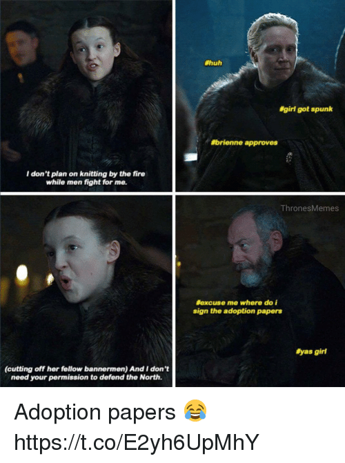 Fire, Huh, and Girl:  #huh  #girl got spunk  #brienne approves  I don't plan on knitting by the fire  while men fight for me.  ThronesMemes  #excuse me where do i  sign the adoption papers  #yas girl  (cutting off her fellow bannermen) And I don't  need your permission to defend the North. Adoption papers 😂 https://t.co/E2yh6UpMhY
