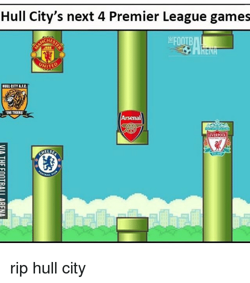 premier-league-games: Hull City's next 4 Premier League games  FOOTB  NITE  HULL CITY ALEC.  THE TIGERS  Arsenal  LIVERPOOL  HELSE rip hull city