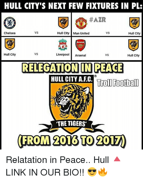 Arsenal, Chelsea, and Memes: HULL CITY'S NEXT FEW FIXTURES IN PLS  #AZIR  VS  Hull City  Chelsea  Hull City Man United  VS  Liverpool  Arsenal  Hull City  VS  Hull City  RELEGATION IN PEACE  HULL CITY A.FC.  Troll Football  THE TIGERS  (FROM 2016 TO 2017) Relatation in Peace.. Hull 🔺LINK IN OUR BIO!! 😎🔥