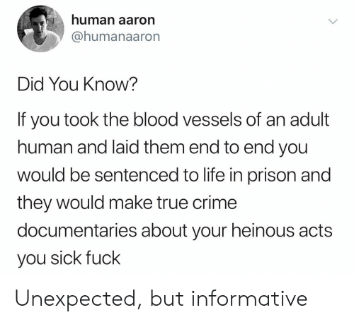 You Sick Fuck: human aaron  @humanaaron  Did You Know?  If you took the blood vessels of  human and laid them end to end you  wOuld be sentenced to life in prison and  they would make true crime  documentaries about your heinous acts  you sick fuck Unexpected, but informative