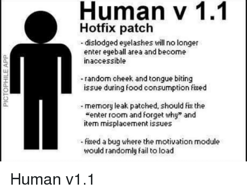 eyelashes: Human v 1.1  Hotfix patch  dislodged eyelashes vwill no longer  enter eyeball area and become  inaccessible  0  0  -random cheek and tongue biting  issue during food consumption fixed  0  memory leak patched, should fi the  *enter room and forget why and  itern misplacement issues  fised a bug where the motivation module  would randomly fail to load Human v1.1