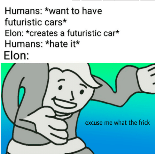 Hate It: Humans: *want to have  futuristic cars*  Elon: *creates a futuristic car*  Humans: *hate it*  Elon:  excuse me what the frick