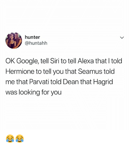 Google, Hermione, and Siri: hunter  @huntahlh  OK Google, tell Siri to tell Alexa that l told  Hermione to tell you that Seamus told  me that Parvati told Dean that Hagrid  was looking for you 😂😂