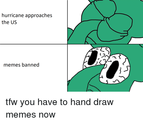 Memes Banned: hurricane approaches  the US  memes banned tfw you have to hand draw memes now