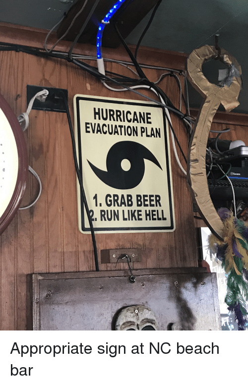 Beer, Funny, and Run: HURRICANE  EVACUATION PLAN  1. GRAB BEER  RUN LIKE HELL Appropriate sign at NC beach bar