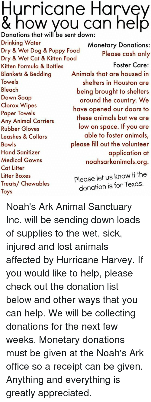 Animals, Drinking, and Food: Hurricane Harvev & how vou Can help Donations that