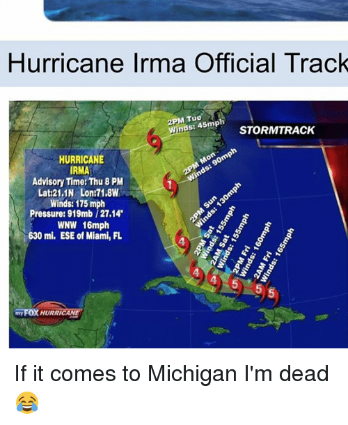 tues: Hurricane Irma Official Track  2PM Tue  S: 45m STORMTRACK  HURRICANE  RMA  Advisory Time: Thu 8 PM  Lat:21.1N Lon:71.8W  Winds: 175 mph  Pressure: 919mb/27.14  WNW 16mph  630 mi. ESE of Miami, FL  4  myFOX HURRICANE If it comes to Michigan I'm dead 😂