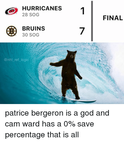 God, Logic, and Memes: HURRICANES  28 SOG  1  FINAL  BRUINS  30 SOG  7  @nhl ref logic patrice bergeron is a god and cam ward has a 0% save percentage that is all