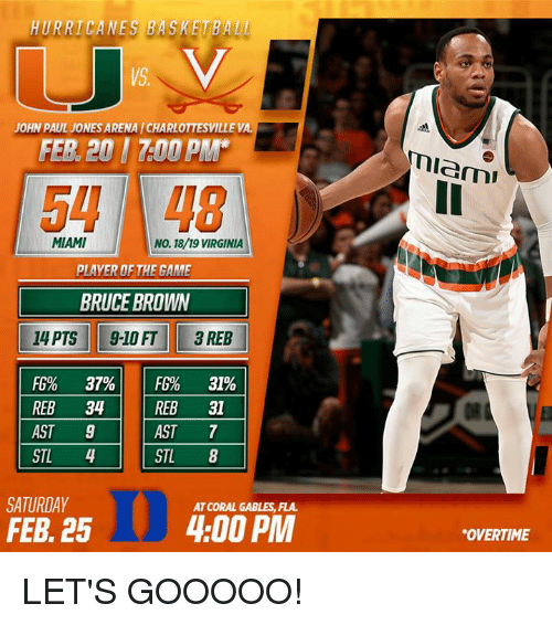 "Basketball, Memes, and The Game: HURRICANES BASKETBALL  JOHN PAUL JONESARENA l CHARLOTTESVILLE VA  FER 201 700 PMM  MIAMI  No. 18/19 VIRGINIA  PLAYER OF THE GAME  BRUCE BROWN  14 PTS 9-10 FT 3 REB  FG% 37% FG% 319%  REB 34  REB 31  7  AST  AST 9  STL 4  STL 8  SATURDAY  AT CORAL GABLES FLA.  4:00 PM  FEB 25  Miami  ""OVERTIME LET'S GOOOOO!"