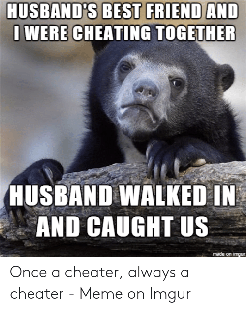 Cheater Meme: HUSBAND'S BEST FRIEND AND  WERE CHEATING TOGETHER  HUSBAND WALKED IN  AND CAUGHT US  made on imgur