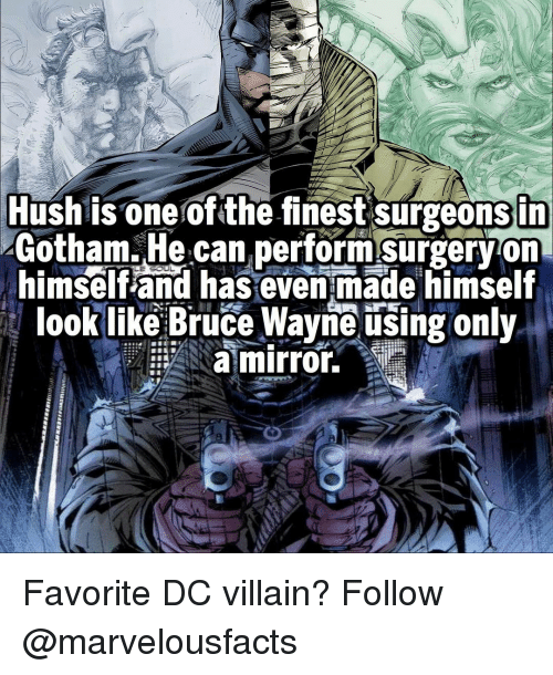 Memes, Gotham, and Mirror: Hush is one of the finest surgeonsin  Gotham. He can performsurgeryon  himself and has even made himself  look like Bruce Wayne using only  a mirror. Favorite DC villain? Follow @marvelousfacts