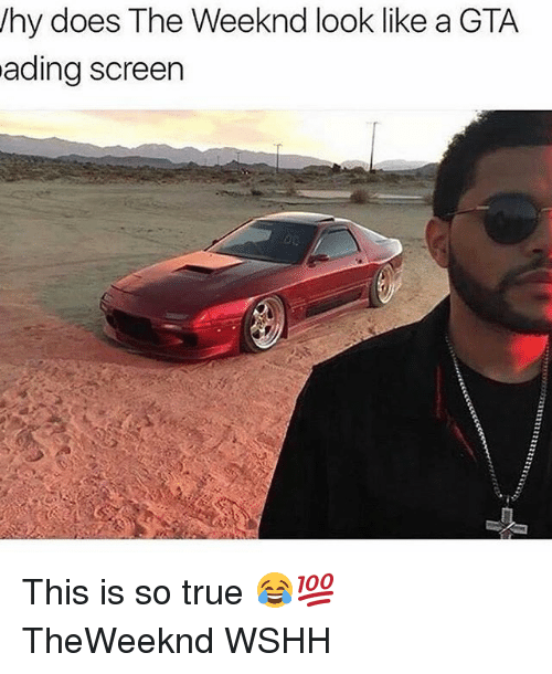 Memes, 🤖, and Gta: hy does The Weeknd look like a GTA  ading screen This is so true 😂💯 TheWeeknd WSHH