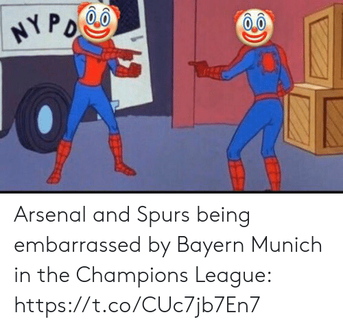 Champions League: HYPO Arsenal and Spurs being embarrassed by Bayern Munich in the Champions League: https://t.co/CUc7jb7En7