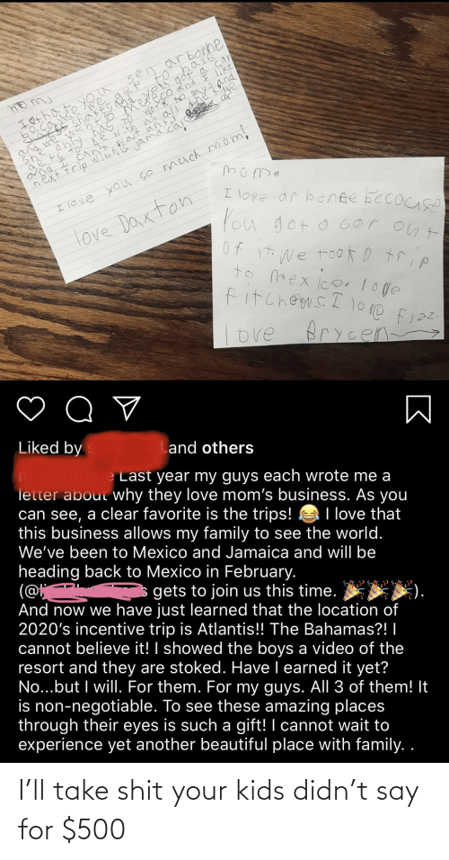 Say For: I'll take shit your kids didn't say for $500