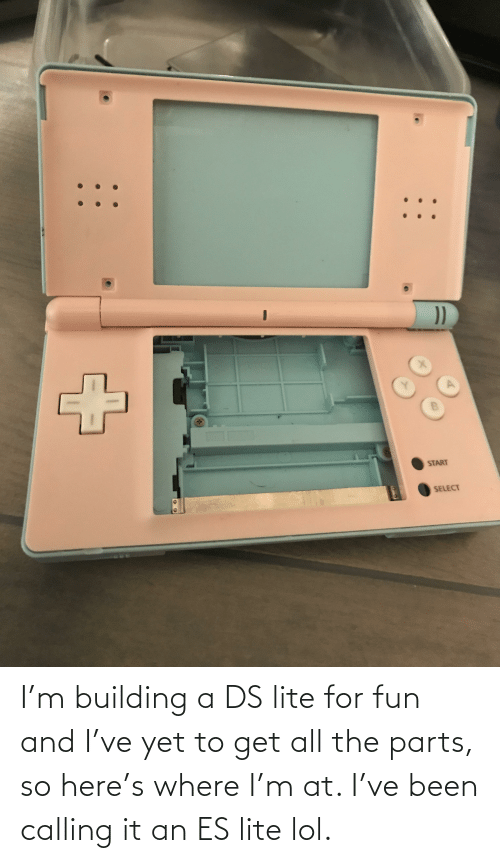 ds lite: I'm building a DS lite for fun and I've yet to get all the parts, so here's where I'm at. I've been calling it an ES lite lol.