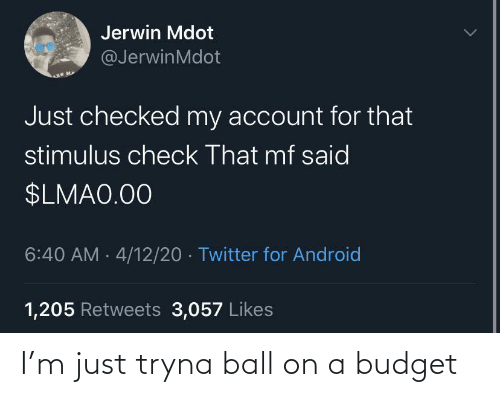 ball: I'm just tryna ball on a budget