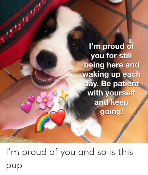 PUP: I'm proud of you and so is this pup