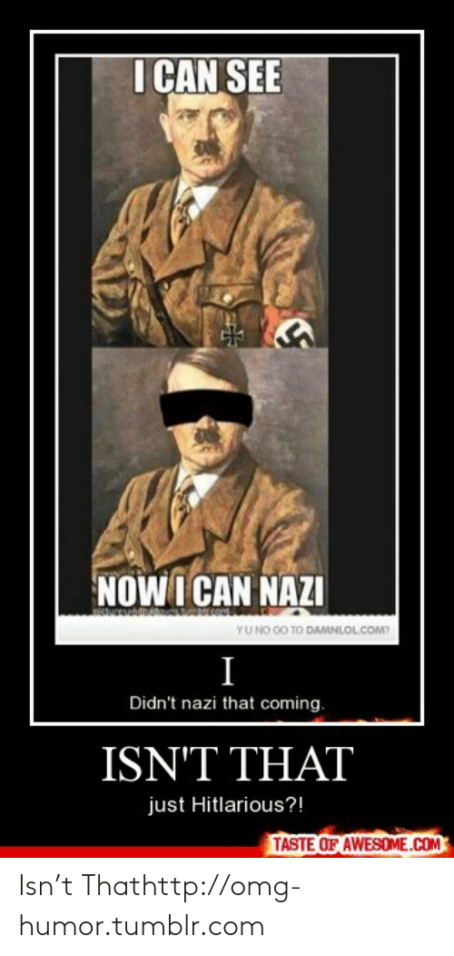 Hitlarious: I ÇAN SEE  NOWI CAN NAZI  YUNO GO TO DAMNLOLCOM?  Didn't nazi that coming.  ISN'T THAT  just Hitlarious?!  TASTE OF AWESOME.COM Isn't Thathttp://omg-humor.tumblr.com