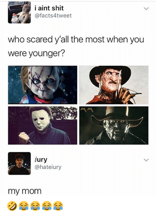 Shit, Girl Memes, and Who: i aint shit  @facts4tweet  who scared y'all the most when you  were younger?  jury  @hateiury  my momm 🤣😂😂😂😂