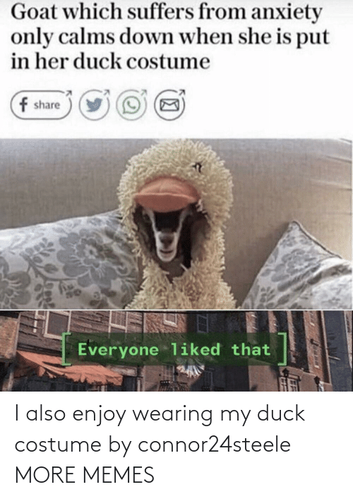 costume: I also enjoy wearing my duck costume by connor24steele MORE MEMES