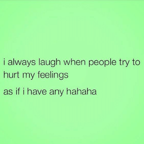 hurt my feelings: i always laugh when people try to  hurt my feelings  as if i have any hahaha