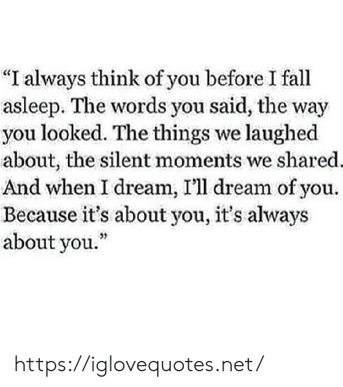 """Fall, Net, and Dream: """"I always think of you before I fall  asleep. The words you said, the way  you looked. The things we laughed  about, the silent moments we shared.  And when I dream, I'll dream of you  Because it's about you, it's always  about you."""" https://iglovequotes.net/"""