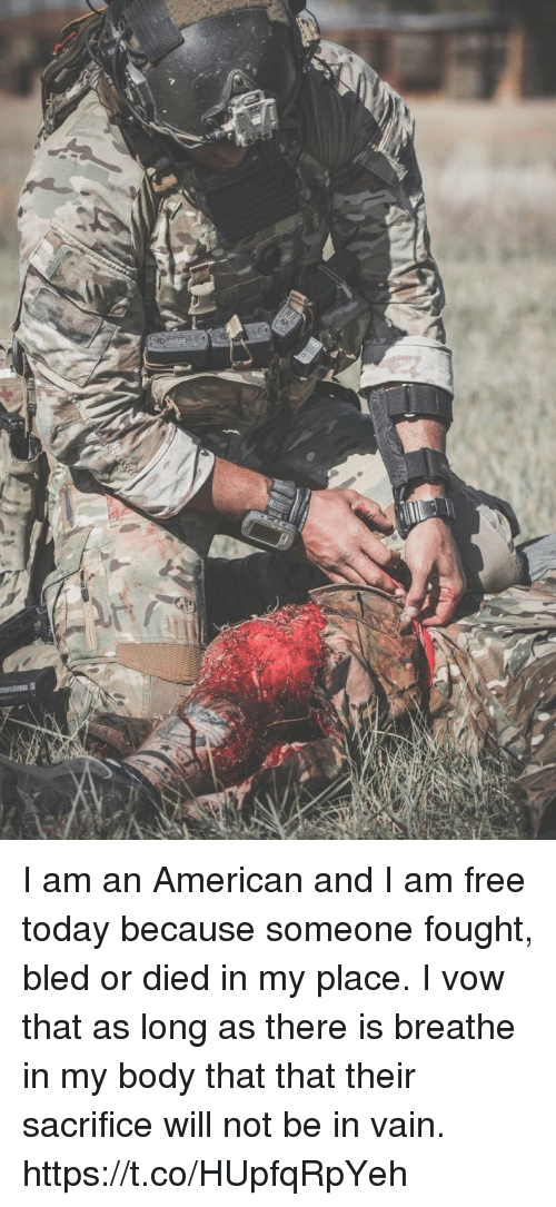 Memes, American, and Free: I am an American and I am free today because someone fought, bled or died in my place. I vow that as long as there is breathe in my body that that their sacrifice will not be in vain. https://t.co/HUpfqRpYeh