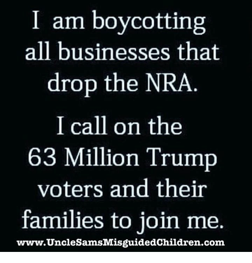 Trump Voters: I am boycotting  all businesses that  drop the NRA  I call on the  63 Million Trump  voters and their  families to join me,  www.ildren.com  UnclesamsMisguidedch