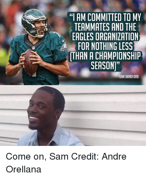 "Philadelphia Eagles, Nfl, and The Eagles: ""I AM COMMITTED TO MY  TEAMMATES AND THE  EAGLES ORGANIZATION  FOR NOTHING LESS  ATHAN A CHAMPIONSHIP  SEASON""  SAM BRADFORD Come on, Sam Credit: Andre Orellana"