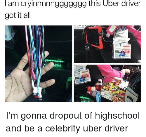Memes, Uber, and Uber Driver: I am cryinnnnnggggggg this Uber driver  got it all I'm gonna dropout of highschool and be a celebrity uber driver