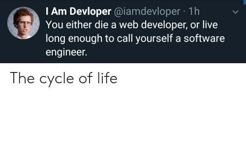 Web Developer: I Am Devloper @iamdevloper 1h  You either die a web developer, or live  long enough to call yourself a software  engineer. The cycle of life