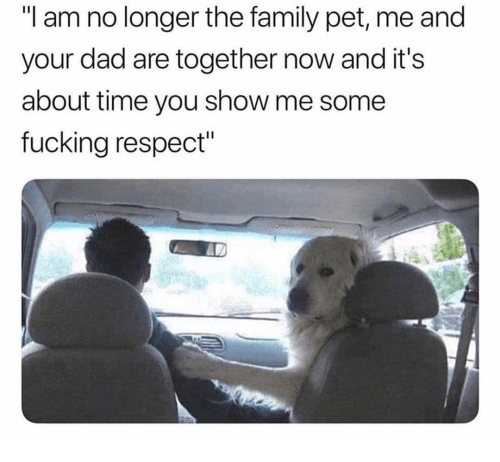 "about time: ""I am no longer the family pet, me and  your dad are together now and it's  about time you show me some  fucking respect"""