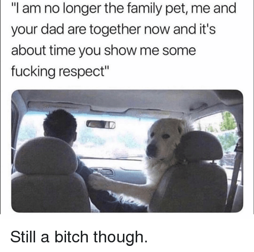 "about time: ""I am no longer the family pet, me and  your dad are together now and it's  