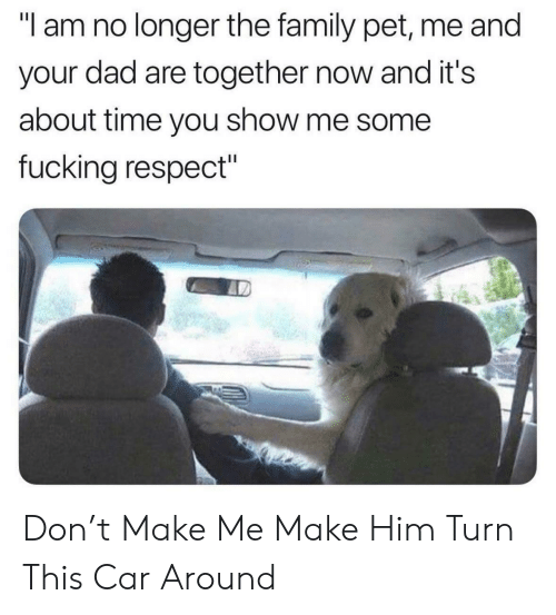 "about time: ""I am no longer the family pet, me and  your dad are together now and it's  about time you show me some  fucking respect"" Don't Make Me Make Him Turn This Car Around"