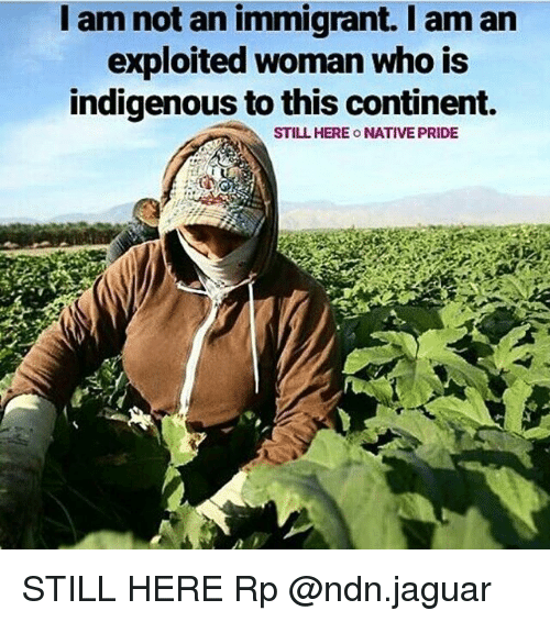 Memes, Jaguar, and 🤖: I am not an immigrant. I am arn  exploited woman who is  indigenous to this continent.  STILL HERE O NATIVE PRIDE STILL HERE Rp @ndn.jaguar