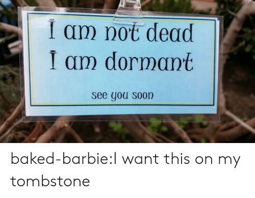 tombstone: i am not dead  I am dormant  see gou S00n baked-barbie:I want this on my tombstone
