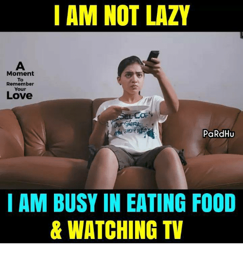 Food, Lazy, and Love: I AM NOT LAZY  Moment  To  Remember  Your  Love  PaRdHU  I AM BUSY IN EATING FOOD  & WATCHING TV