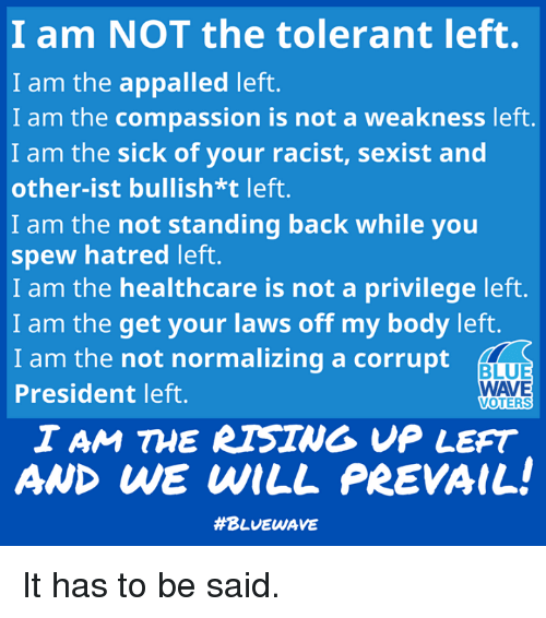 Appalled, Memes, and Blue: I am NOT the tolerant left.  I am the appalled left.  I am the compassion is not a weakness left.  I am the sick of your racist, sexist and  other-ist bullish*t left.  I am the not standing back while you  spew hatred left.  I am the healthcare is not a privilege left.  I am the get your laws off my body left.  I am the not normalizing a corrupt  President left.  BLUE  WAVE  VOTERS  I AM THE RTSING VP LEFT  AND WE WILL PREVAIL  It has to be said.