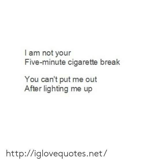 lighting: I am not your  Five-minute cigarette break  You can't put me out  After lighting me up http://iglovequotes.net/