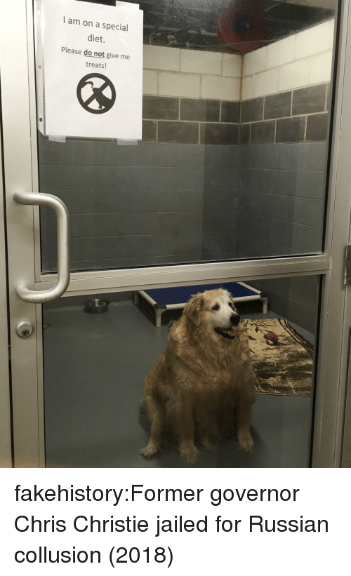 Christie: I am on a special  diet.  Please do not give me  treats! fakehistory:Former governor Chris Christie jailed for Russian collusion (2018)